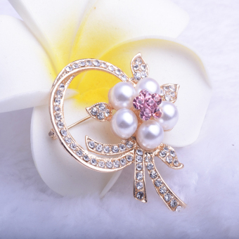 Harga korean jewelry korean pearl flower corsage brooch pin collar pin brooch badge female