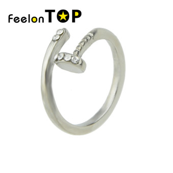 Harga Feelontop Silver Plated Rhinestone Cuff Fingers Rings for Women - intl