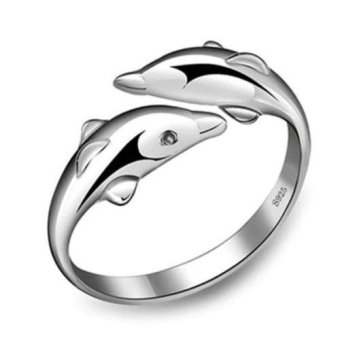 Harga Okdeals Double Dolphin Women 925 Silver Plated Adjustable Ring