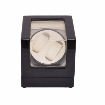 Watch Winder ,LT Wooden Automatic Rotation 2+0 Watch Winder Storage Case Display Box (Outside is black and inside is white) - intl