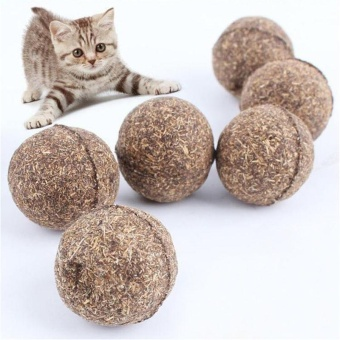 Harga Fashion Pet Kitten Cat Mint Ball Cute Play Toys Ball Coated Catnip Bell Toys - intl