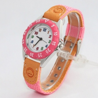 Harga Amart Children Smile Watch Student Fabric Strap Wristwatch(Pink) - intl
