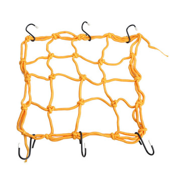 Motorcycle 6 Hooks Hold down Helmet Luggage Mesh Net Bungee 30*30cm (Yellow)