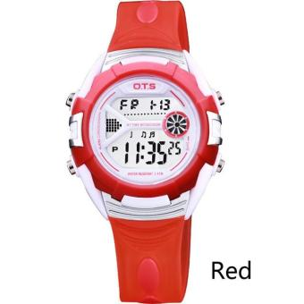 Harga OTS 6999 Fashion Children Watches Casual Digital Watches 50M Waterproof Kids Watch Boys Girls Students Chronograph Wristwatches - Red - intl