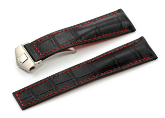 iStrap 22mm Calf Leather Strap Alligator Grain Steel Deployant Watch Band Black Red Stitch for TAG - Intl