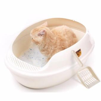 Harga CAT LITTER BOX WITH FOOTBOARD & FREE SCOOP No Sieve White
