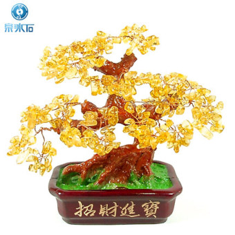Harga Lucky opening of natural crystal yellow crystal fortune tree ornaments