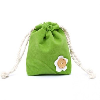 Harga Cocotina Travel Sport Button Flower Decor Double Layer Soft Fabric Drawstring Bag Storage Case Pouch – Green