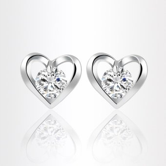 Harga Okdeals 1Pair Fashion Heart Women Elegant Crystal Rhinestone Ear Stud Earring(Silver)