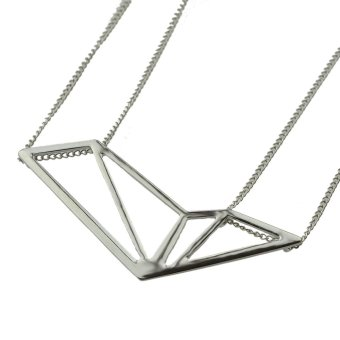 Harga Rock Style Gold Silver Black Long Chain with Geometric Pendant Necklace For Women