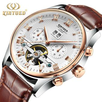 Harga KINYUED Top Brand Mechanical Watch Luxury Men Business Watchs Genuine Leather Band 3ATM Waterproof Calendar Function Mens Famous Male Watches Clock For Men Wrist Watch - intl