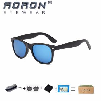 Harga [Buy 1 Get 1 Freebie] AORON Men's The New Fashion Classic Design Sunglasses UV400 Protect Polarized Glasses P2140(Black Blue) - intl