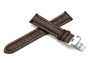 iStrap 22mm Calf Leather Strap Tan Stitched Replacement Watch Band Metal Deployant - Brown 22