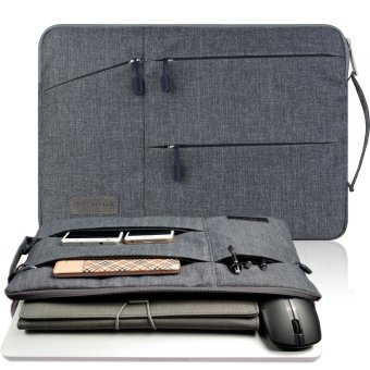 Harga Gearmax(TM) Travellers Multi-functional Nylon Water Resistant with Side Pockets Laptop Handbag for 15.4 Inch Macbook Air Pro / Notebook / Surface / Dell Sleeve Case Cover Bag (15.4 Inch,Gray)