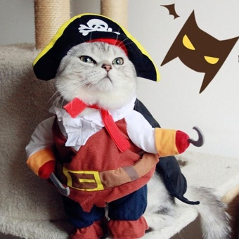 Harga Funny Pet Cat Pirate Costume Suit Halloween Cat Clothes Corsair Puppy Dressing Up Party Clothes for Cat Plus - intl