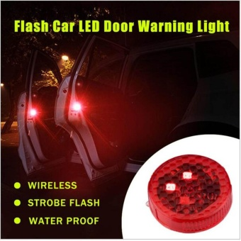 Harga 2pcs/set Car LED Door Opened Signal Warning Strobe Light Wireless Flash Decorative Indicator Anti-Collision Lamp Red - intl