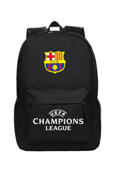 Harga MeYoung Futbol Club Barcelona and UEFA Champions League Logo Backpack (Black)