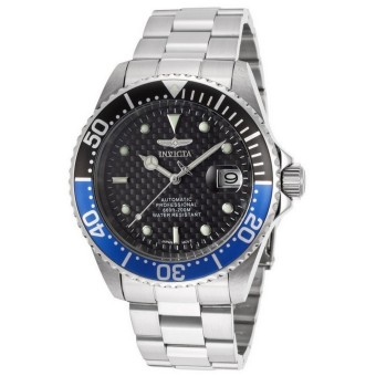 Harga Invicta Pro Diver Men 43mm Case Silver Stainless Steel Strap Black Dial Automatic Watch 15584 w/ Impact Case - intl