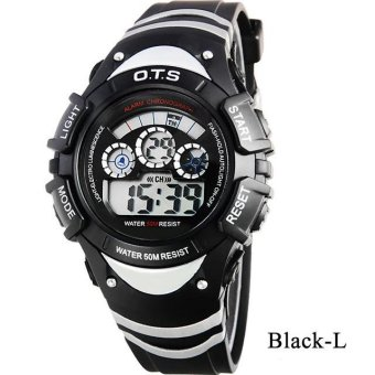 Harga Genuine O.T.S Children Student Fashion Waterproof Watches Sports Night Light Digital Watch - Black L - intl