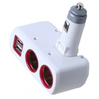 SD-1918 Dual Cigarette Lighter Socket Power Adapter with Dual USB Output (White)
