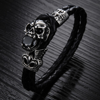 Harga GUYUE Men's Fashion Genuine Leather Braided Bracelet Bangle with Stainless Steel Skull and Crystal
