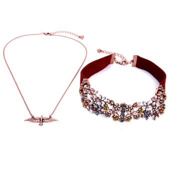 Harga Multi-layer necklace female eagle flowers flannel neck strap European and American style Jewelry Crystal inlaid luxury choker collar
