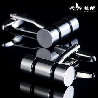 Harga Handsome long cylindrical fasteners black ring upscale men's cufflinks french shirt cuff cufflinks cufflinks