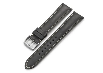 iStrap 20mm Genuine CalfSkin Leather Watch Band Strap Steel Spring Bar Buckle Replacement Clasp Super Soft Black 20
