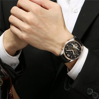 Harga KINYUED Brand Tourbillon Mechanical Watch Men Stainless Black - intl