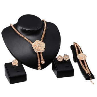 Sanwood Flower Crystal Earring Ear stud Necklace Bracelet Ring Wedding Jewelry Set Price in Singapore