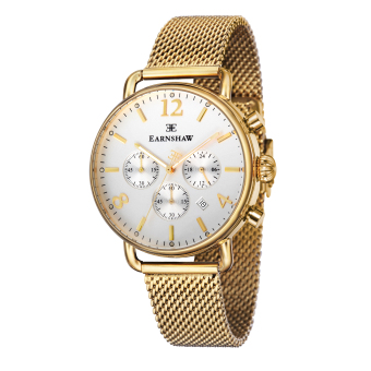 Harga Thomas Earnshaw INVESTIGATOR ES-8001-22 Men's Ionic Plating - Gold Mesh Band Watch - intl