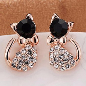 Harga Women's Stud Earring Black Cat Crystal Rhinestone Ear Studs - intl