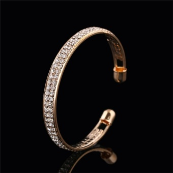 Style Gold Silver Crystal Rhinestone Bangle Cuff Bracelet Jewelry Gold - intl