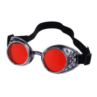 ErpstoreVintage Style Steampunk Goggles Welding Punk Glasses Cosplay Red - intl
