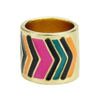 Harga New Coming Gold Color Alloy Colorful Enamel Rings for Women - intl