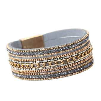 New Jewelry Woman Top Magnetic Clasp Leather Crystal Bracelet Gray - Intl