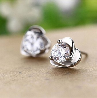 Jetting Buy 1 Pair Women Lady Elegant Silver Plated Purple Heart Crystal Ear Stud Earrings White