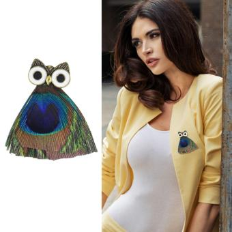 Harga Feelontop Ethnic Style Colorful Peacock Feather Owl Shape Brooches - intl