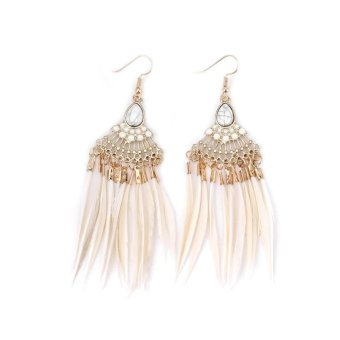 1 Pair Ethnic Long Drop Feather Earrings Bohemia Tassel Dangle Earrings - intl
