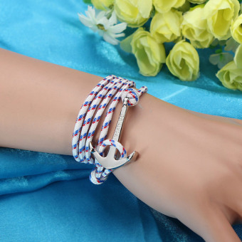 New Fashion Jewelry Leather Anchor Bracelet S4 - intl