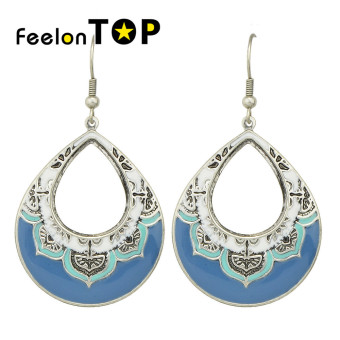 Feelontop Bohemian Style Blue Enamel Big New Designs Earrings - intl