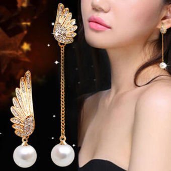 Harga Women Angel Wings Rhinestone Ear Stud Dangle Earrings Jewelry - intl