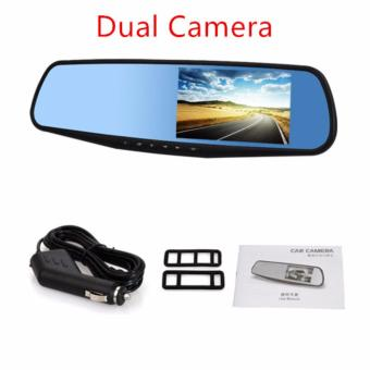 Harga 2 in 1 HD Car Cameras Wide Angle Dual Lens 3 Inch Car DVR Dash Camera Recorder Cam Rear View Camera Motion