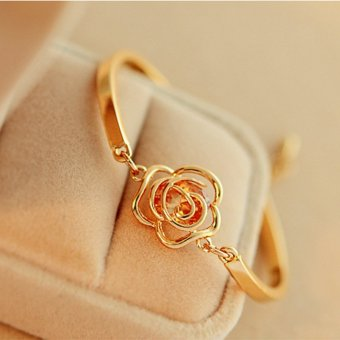 Cocotina Gold Tone Women Chic Crystal Rose Charm Chain Bangle Bracelet Price in Singapore