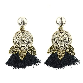 Harga Feelontop Punk Style Long Black Tassel Stud Earrings