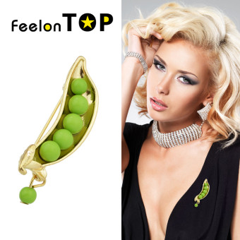 Harga Feelontop Fashion Green Beads Long Brooches Jewelry for Women