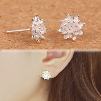 Harga Women's Silver Plated Lotus Flower Ear Stud Earrings Jewellery - intl