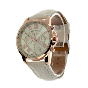 Harga Women's Geneva Roman Numerals Faux Leather Analog Quartz Watch (Beige)