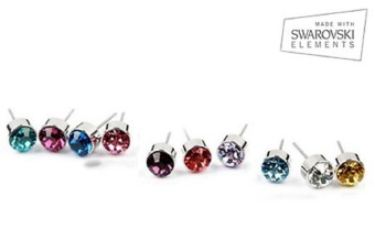 Harga Super Offer - Swarovski Elements Ear Studs + Velvet Pouch