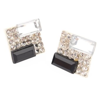 Harga Women's lady Jewelry Square Crystal Rhinestone Ear Stud Earrings